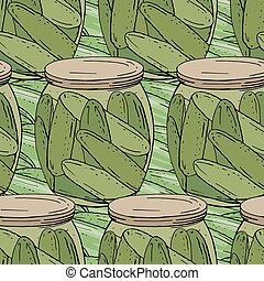 Seamless season pattern with cucumbers in glass pots. ...