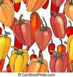 Seamless season pattern with different peppers. Endless ...