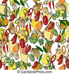 Seamless season pattern with different vegetables. Endless ...