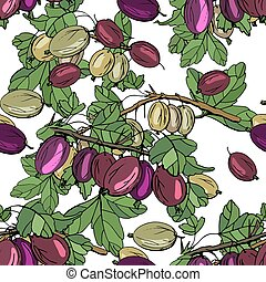 Seamless season pattern with gooseberry. Endless texture for...