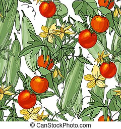 Seamless season pattern with growing tomato and cucumber. ...