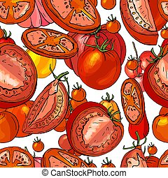 Seamless season pattern with ripe red tomatoes. Endless ...
