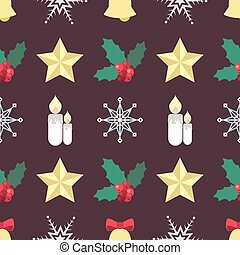 Seamless Seasonal pattern with an assortment of Christmas elements