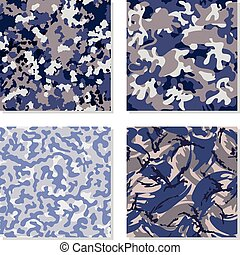 Seamless set of camouflage pattern vector. Template for ...