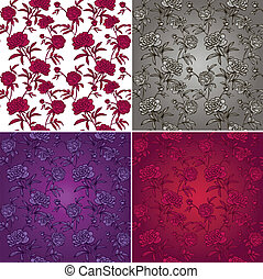 seamless set of patterns with peonies