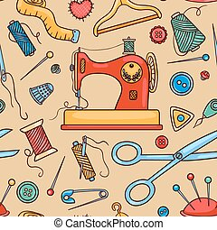 Seamless sewing pattern. Vector cartoon background.