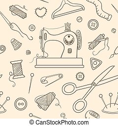 Seamless sewing sketch pattern