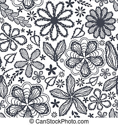Seamless shabby floral hand-drawn curly pattern