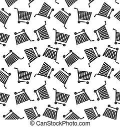 Seamless Shopping Cart Pattern Background