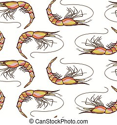 Seamless Shrimps Background Pattern in Vector