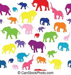 seamless, silhouette, sfondo colorato, elefanti