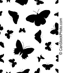 Seamless silhouettes of butterflies