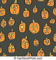 Seamless Silly Pumpkins