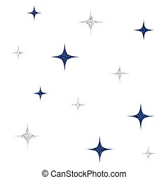 seamless silver and blue glitter star pattern on white background