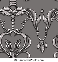 Seamless silver baroque pattern 20