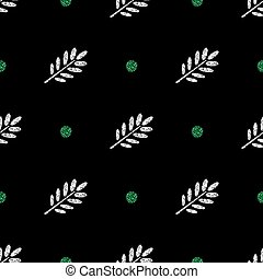 seamless silver glitter leaf stamp with green dot glitter pattern on black background