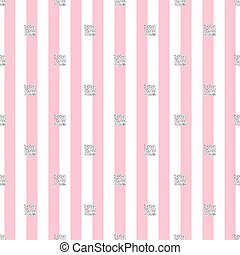 seamless silver glitter square pattern with pink stripe background