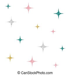 seamless silver, gold, green and pink glitter star pattern background