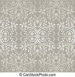 Seamless silver lace flowers and leaves foliage wallpaper. This image is a vector illustration