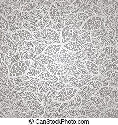 Seamless vintage silver lace leaves wallpaper pattern. This image is a vector illustration.