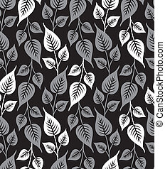Seamless silver leaves background