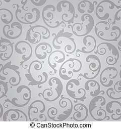 Seamless luxury silver swirls floral wallpaper pattern. This image is a vector illustration.