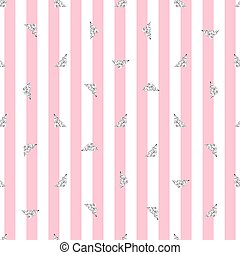 seamless silver triangle glitter pattern with pink stripe background