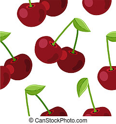 Seamless simple pattern with ripe cherry