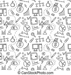 Seamless sketch of business doddle elements