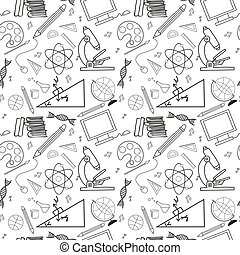 Seamless sketch of education doddle elements. - Seamless...