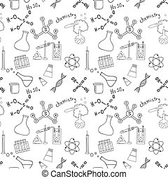 Seamless sketch of science doddle elements. Vector...