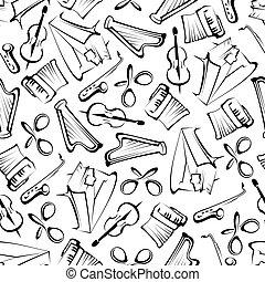 seamless, sketched, instrumentos musicais, padrão
