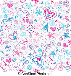 Seamless Sketchy Doodles Pattern - Seamless Pattern Hearts...