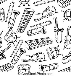 Seamless sketchy musical instruments pattern