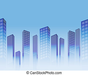 Seamless horizontal background with blue stylized skyscrapers