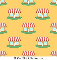 Seamless Smaii Shop Pattern. Store Background.