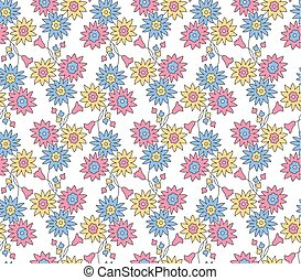 Seamless small floral pattern on white background