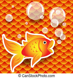 Seamless small goldfish or koi fish scale pattern with fish