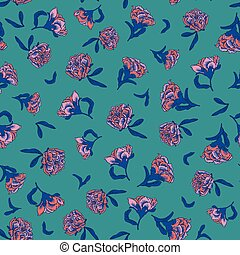 Seamless small scale ditsy vector floral texture chinoiserie...