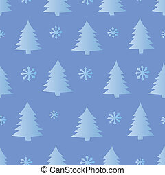 seamless, snö, och, träd