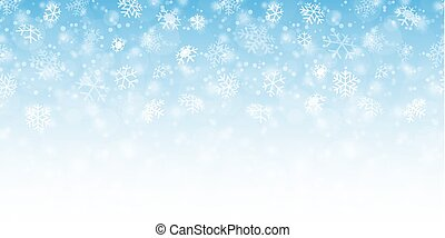 seamless fall of snow flakes and blue colored background