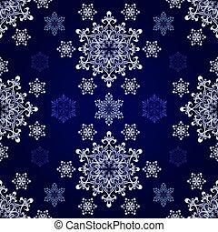 Seamless snowflake dark blue vector background.