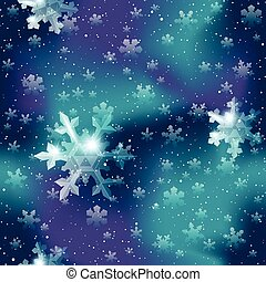 Seamless snowflake pattern in blue and purple