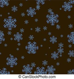 Seamless snowflake pattern on a black background. Vector illustration.