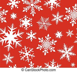 Seamless snowflake pattern on red background