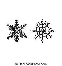 Seamless snowflake set illustration clipart. Simple gender neutral nursery festive scrapbook sticker. Kids whimsical cute hand drawn cartoon christmas motif.