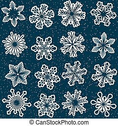 seamless snowflakes pattern with starry sky