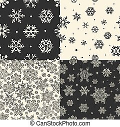 Seamless Snowflakes Patterns. Vector set