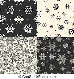 Seamless Snowflakes Patterns. Vector set