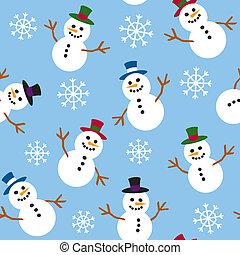 seamless, snowmen, i, śnieg